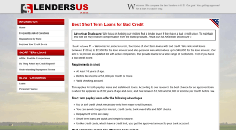Best Short Term Loans >> Visit Lendersus Com Best Short Term Loan Lenders Online 10 Loans