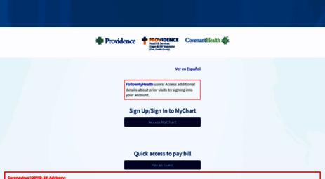 Visit mychartor providence org mychart application error page