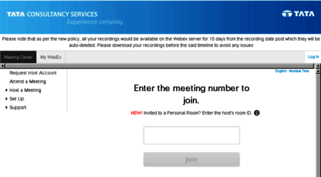 Visit Tcs.webex.com - Tata Consultancy Services.