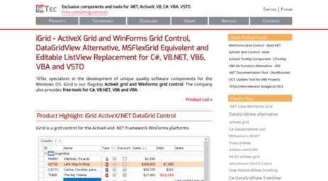 Visit 10tec com - ActiveX/WinForms Grid Control, DataGridView