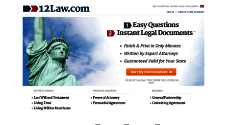 Visit 12law com - 1-2-Law | Get Legal Documents | US Legal