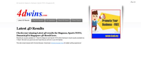 Visit 4dwins com - Latest 4D results for Magnum 4D, Damacai4d