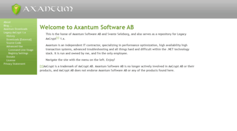 Visit Axantum com - Online Password Manager and File