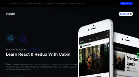 Visit Cabin getstream io - React / Redux Tutorial: Build an example
