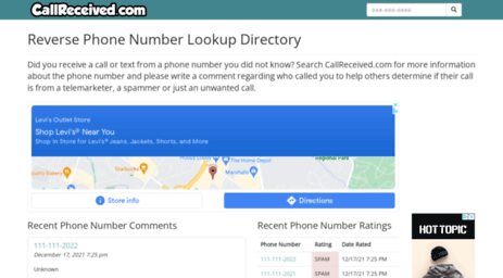 Visit Callreceived com - Free Reverse Phone Number Lookup Directory