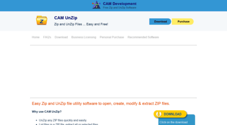 Visit Camunzip com - CAM UnZip - Free, Simple Zip & UnZip Software