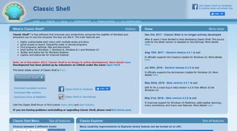 Visit Classicshell sourceforge net - Classic Shell - Start