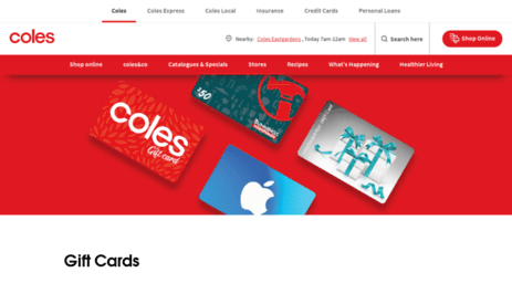 Visit Colesprepaidcards Com Au Gift Cards Available At Coles Coles