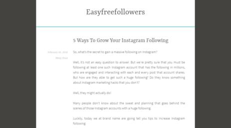 Visit Easyfreefollowers com - Free Instagram Followers - Instant