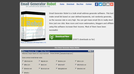 Visit Email-generator org - Unlimited Email Lists Software - Email
