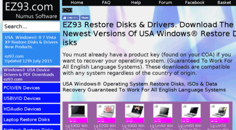 Visit Ez93 co uk - Windows® Recovery Disk ISO Downloads for