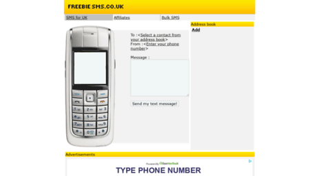 Visit Freebiesms co uk - Free SMS-Send SMS messages free to the UK