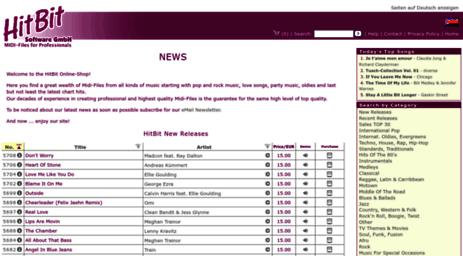 Visit Hitbit com - HitBit MIDI-Files for Professionals - NEWS