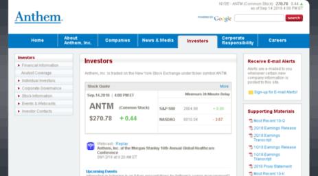 Visit Ir wellpoint com - Anthem, Inc | Investor Relations