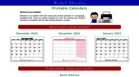 Calendario Michel Zbinden.Visit Michelzbinden Com Free Printable Calendars In 10 Languages