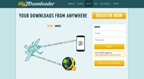 Visit My jdownloader org - My JDownloader - Web Interface