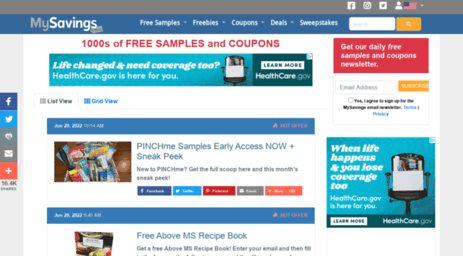 Visit Mysavings com - Free Samples - Printable Grocery