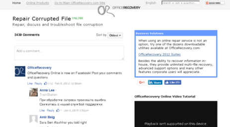 Visit Online officerecovery com - Repair Corrupted File