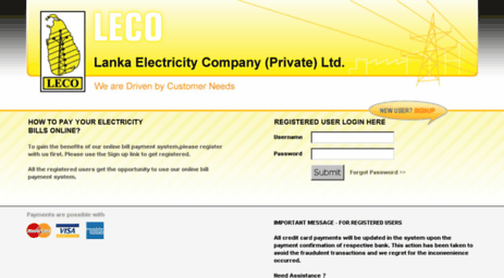 Visit Onlinepay leco lk - LECO Online Bill Payments