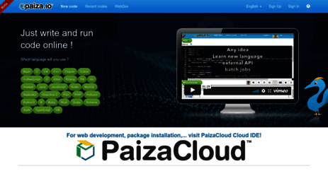 Visit Paiza io - Online PHP/Java/C++    editor and compiler