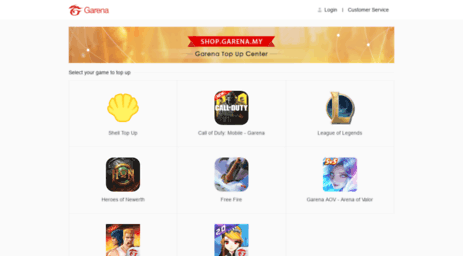 Visit Pay garena my - Garena Topup Center
