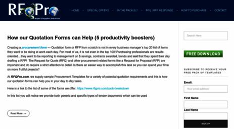 Visit Rfqpro com - RFP Templates >> RFQ Templates for both