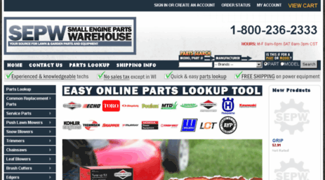 Visit Sepw com - Small Engine Parts, Snow Blowers, Lawn