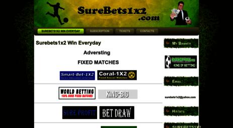Visit Surebets1x2 com - Surebets1x2 - free bets, free tips, fixed