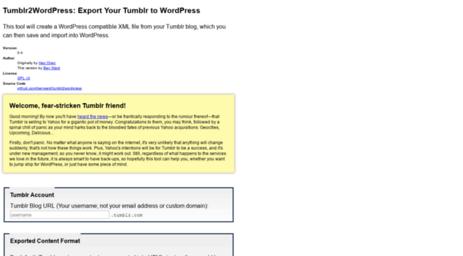 Visit Tumblr2wordpress benapps net - Tumblr2WordPress