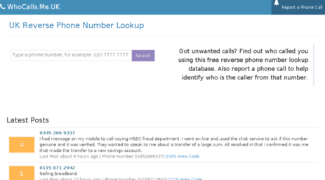 Visit Whocalls me uk - UK Free Phone Numbers Lookup