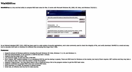 Visit Winmd5 com - WinMD5 Free - Windows MD5 Utility