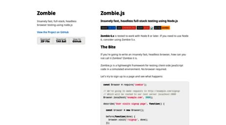Visit Zombie js org - Zombie js | Zombie